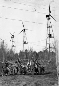 (Photo courtesy Crotched Mountain Rehabilitation Center) This photo shows residents and workers at Crotched Mountain Rehab Center walking under the working wind farm, in 1980 or 1981.