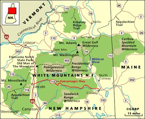 White Mountains Map white mountain national forest map   Granite Geek
