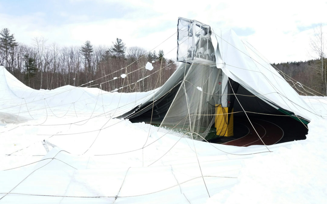 Inflatable domes collapse from snowstorm