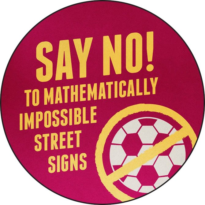 The greatest direct-democracy petition ever: Fixing the geometry of road-sign soccer balls