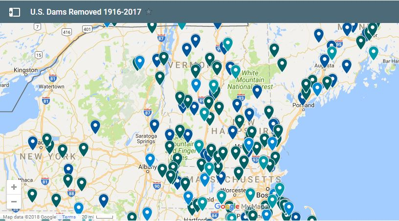 Lots of dams were removed in New England in 2017