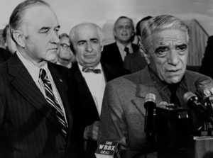Gov. Thompson and an ailing Aristotle Onassis try to sell the refinery at a NH press conference. Onassis died the next year.