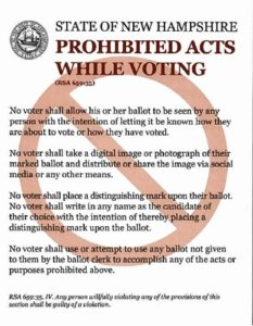 The polling place poster from 2014, when ballot selfies were still verboten.