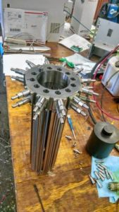 A prototype - the thin veritcal rods expand and contract, sending hydraulic fluid out the tubes to turn a generator.
