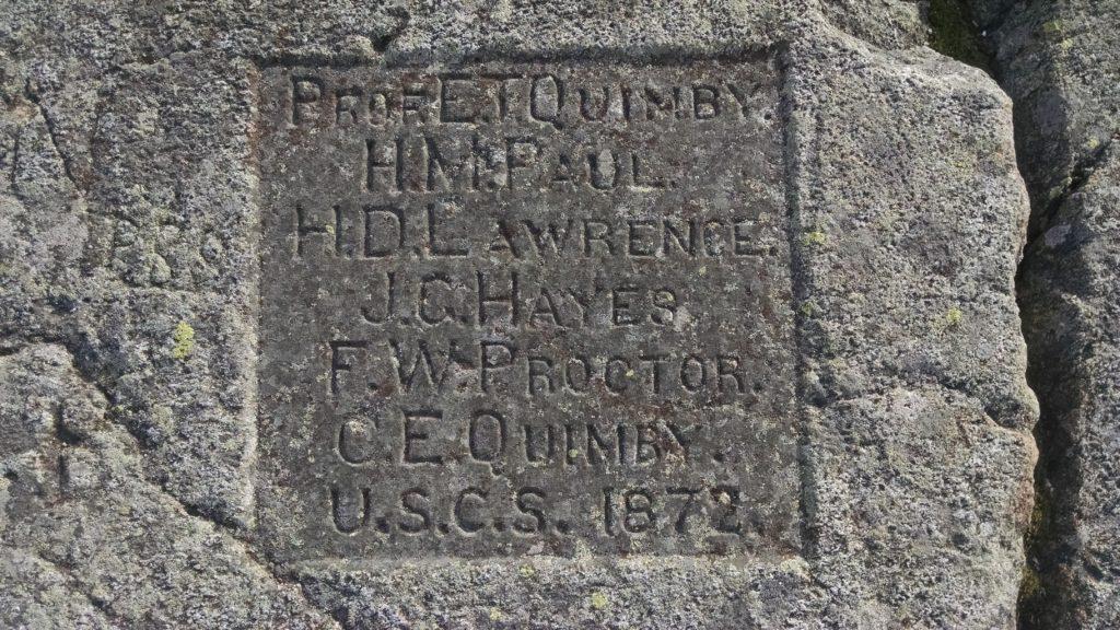 plaque carved Mt. Kearsarge from 1972 survey