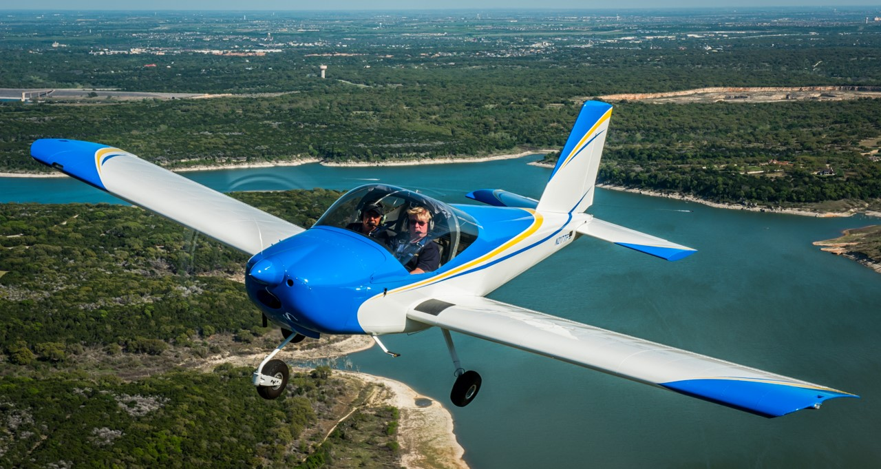 An RV-12 aircraft similar to the one to be built by Manchester School of Technology students. The plane is piloted by Dan Weyant of Tango Flight, Inc., a educational non-profit that's partnering with the Aviation Museum of N.H. on the project.