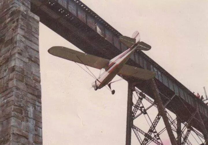 Old film of famous NH flight under a bridge