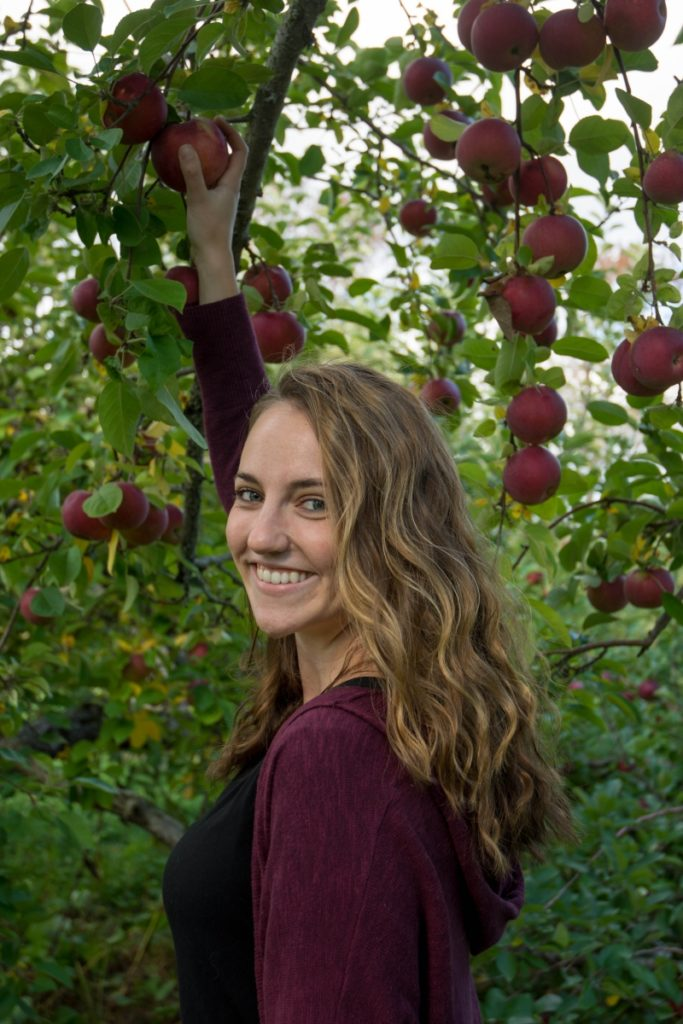UNH graduate student Liza DeGenring is investigating the development of new tools to manage apple scab for Northeast farmers.