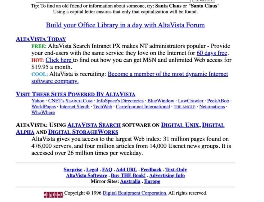 AltaVista, the early search engine that might have saved DEC, was born a quarter-century ago
